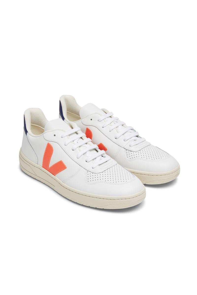 Men V-10 Leather White Orange