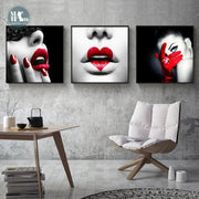 Modern-Beauty-Fashion-Canvas-Poster-and-Prints-Black-White-girls-Lipstick-love-Wall-Art-Picture