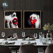 Modern-Beauty-Fashion-Canvas-Poster-and-Prints-Black-White-girls-Lipstick-love-Wall-Art-Picture-dinning-room