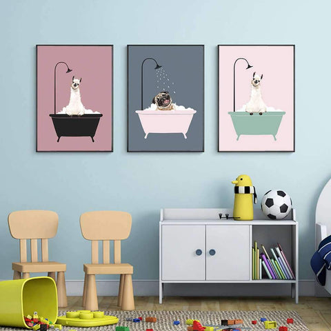Dog Bath Canvas Poster - Canvas Painting - Home Decoration - Wall decor