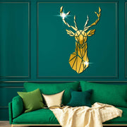 Geometric Deer Head Acrylic Mirror Wall Art - Canvas Wall Art - canvas poster