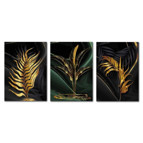 Gold-Plant-Leaves-Prints-Wall-Art-Canvas-Print-Black-Abstract-Art-Painting-Nordic-Wall