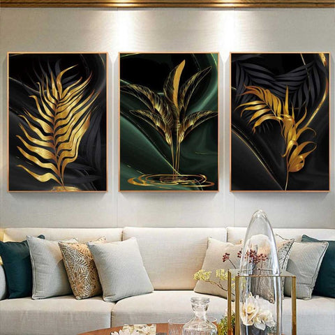 Gold Plant Leaves Canvas Prints Wall Art - Canvas Wall Art - wall decal decor