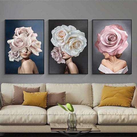 pink-white-flower-lady-poster-canvas-all-3-displayed