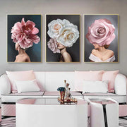pink-white-flower-lady-poster-canvas-all-3-display-living-room