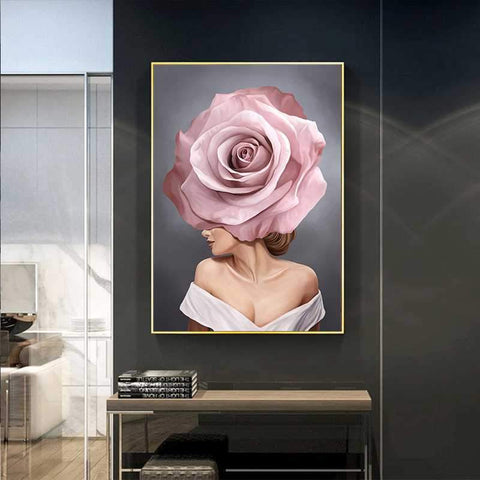 pink-white-flower-lady-poster-canvas-c-displayed