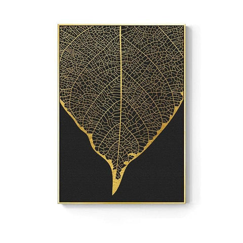 Golden abstract leaf flower Wall Art - canvas poster - Canvas Painting