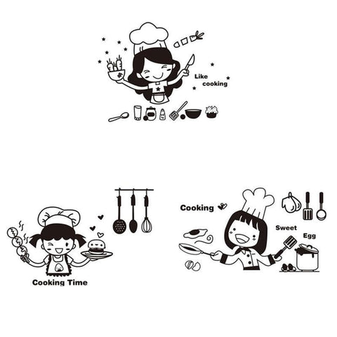 Cooking-Girl-Kitchen-Wall-Sticker-Decal-3-versions