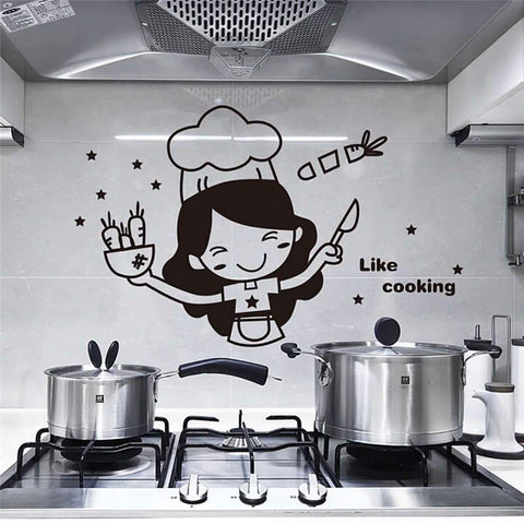 Cooking-Girl-Kitchen-Wall-Sticker-Decal-like-cooking-on-stove