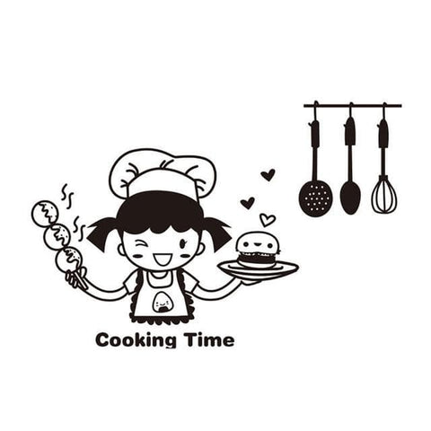 Cooking-Girl-Kitchen-Wall-Sticker-Decal-cooking-time