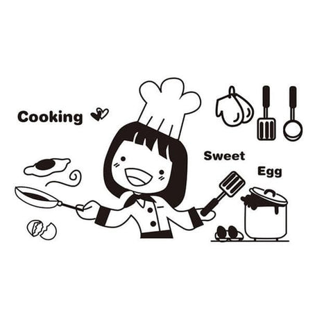 Cooking-Girl-Kitchen-Wall-Sticker-Decal-cooking-sweet-egg
