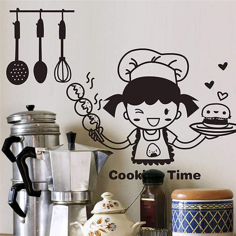 Cooking-Girl-Kitchen-Wall-Sticker-Decal-cooking-time-displayed