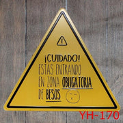 Yellow Traffic Precaution Triangle Metal Plaque Décor