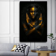 Black-woman-Gold-Canvas-Wall-Art
