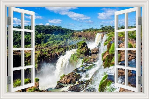 Waterfall 3D Window View Wall Sticker - wall art - Home Decoration