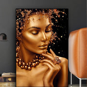 Sexy Gold & Black Woman African Wall Art - wall decor = wall art = home diy