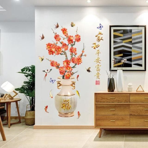Large-Vase-Wall-Sticker-Beautiful-Plum-Blossom-Art-Flower-Butterfly-Home-Decor