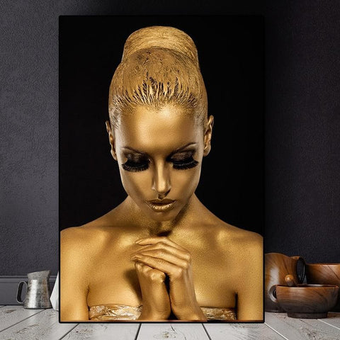 Gold Lady African Women Canvas Art - Art Decor - Home Decoration - decal