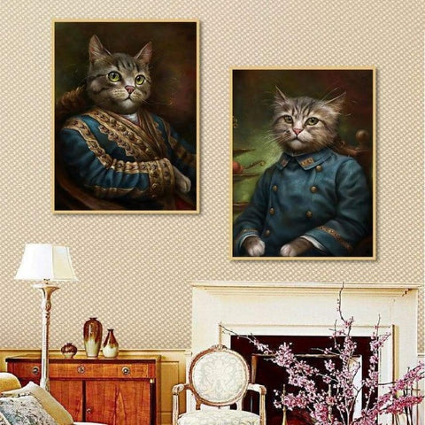 two retro style cat-canvas print art