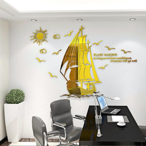 DIY-Sailboat-3D-Wall-Décor-Sticker-gold