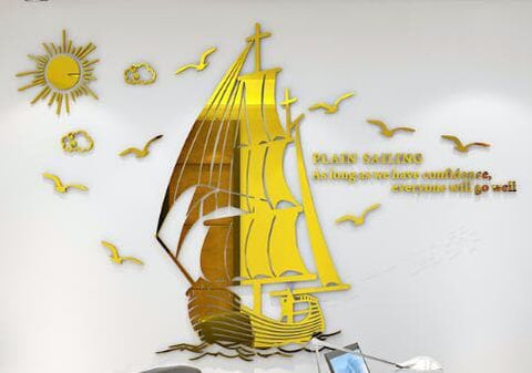 DIY-Sailboat-3D-Wall-Décor-Sticker-gold-displayed
