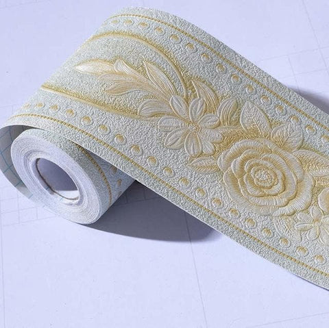 3d-Floral-Wall-Baseboard-Wallpaper-Décor-white-and-gold
