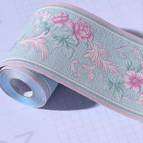 3d-Floral-Wall-Baseboard-Wallpaper-Décor-blue-and-pink