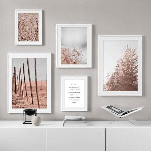 Pink Reed Grass Flower Plant Wall Art