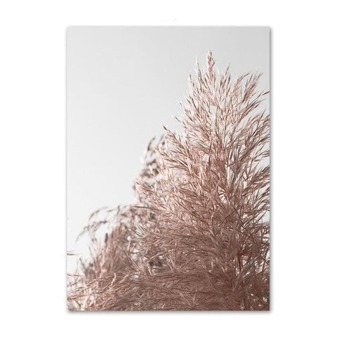 Pink Reed Grass Flower Plant Wall Art - canvas poster - wall decal - Home Decoration