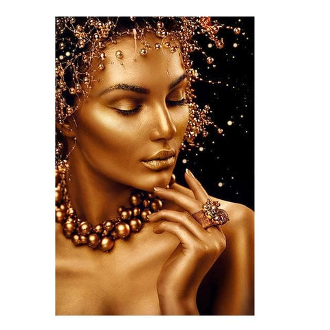 Gold & Black Woman African Wall Art