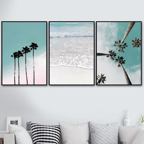 Coconut-Palm-Tree-Pink-Beach-Canvas-Art-living-room-display