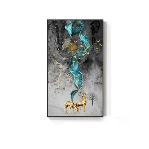 Abstract-Golden-Deer-Painting-Wall-Art-canvas