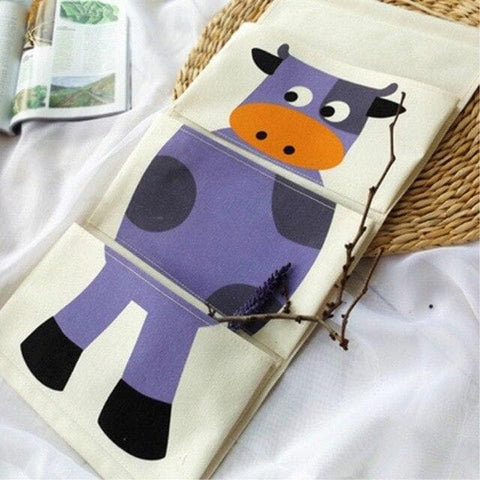 Cartoon Wall Hanging Storage Bag Décor-blue-cow