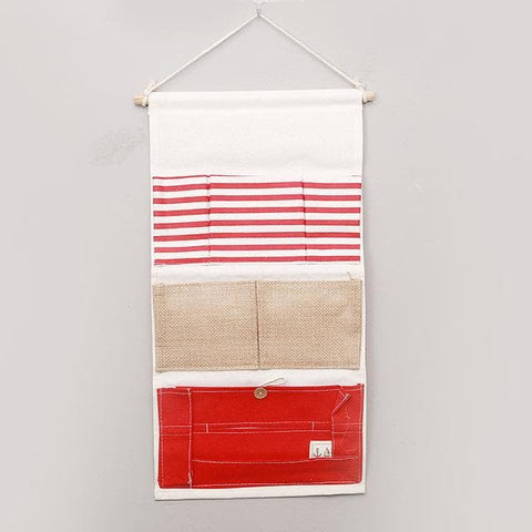Cartoon Wall Hanging Storage Bag Décor-white-and-red