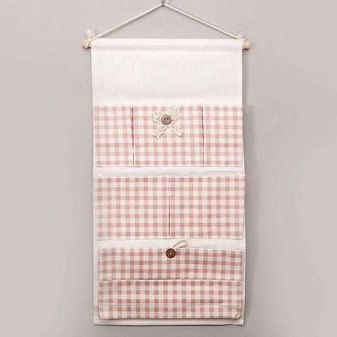 Cartoon Wall Hanging Storage Bag Décor-white-and-red-squares