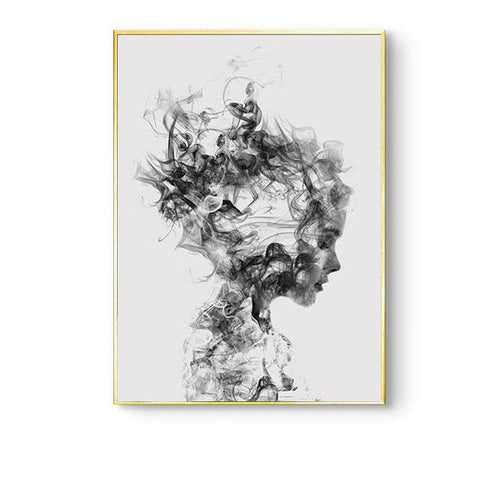 Smoky Girl Sketch Canvas Print - wall sticker - wall decor - wll art