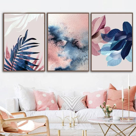 Modern Abstract Pink Leaves canvas poster - Wall Art Decor - kitchen decal