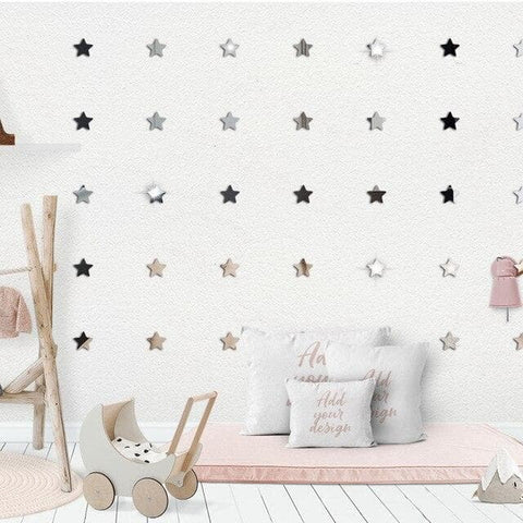 Acrylic-3D-Mirror-Stars-Wall-Stickers-black
