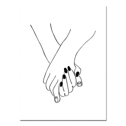 Kiss Hand-holding Line Drawing Canvas Poster - canvas postere - wall sticker
