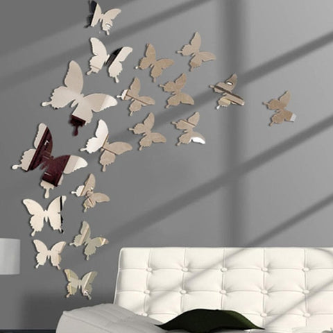 Mirror Effect Butterflies Wall Sticker - Canvas painting - canvas poster