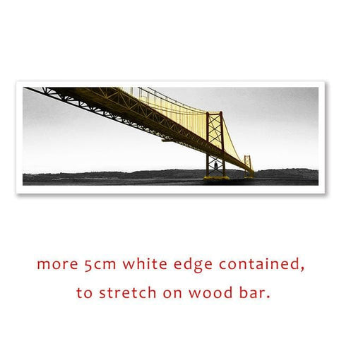 Yellow Long Bridge Scene Canvas Paintings - wall sticker - wall art