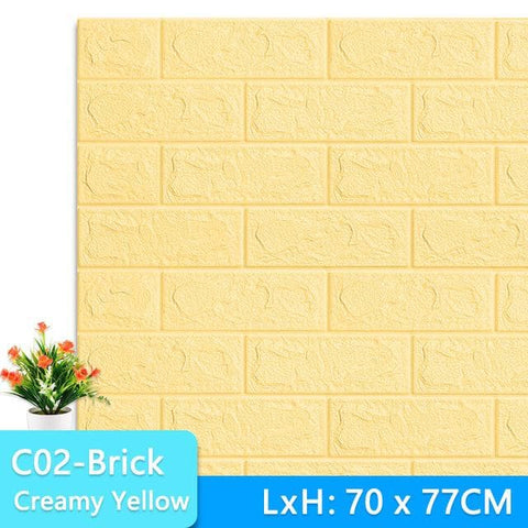 3D-Wall-3D-Wallpaper-stone-tile-creamy yellow
