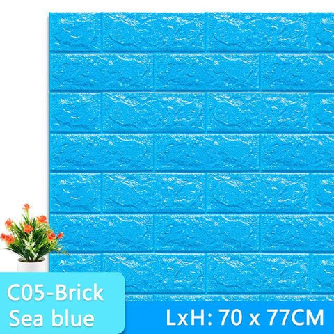 3D-Wallpaper-bricke-tile-sea blue
