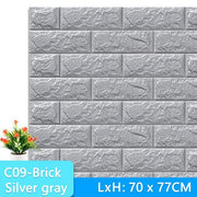 3D-Wallpaper-brick-tile-silver gray