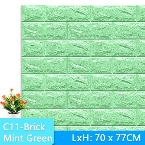3D-Wallpaper-brick-tile-mint green