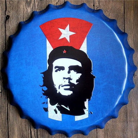 Retro-Metal-Bottle-Cap-Wall-Sign-Plaque-che-guevara-cuba-flag