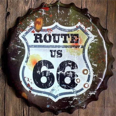 Route 66 Bottle Cap Vintage Tin Sign Bar