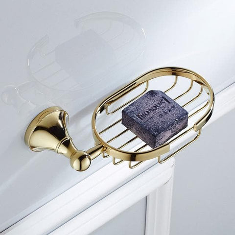 Gold Polished Bathroom Wall Shelve Holder Set