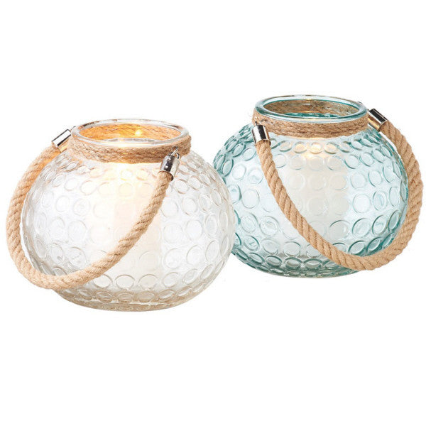Large Glass and Rope Candle Holders, Clear or Sea Green
