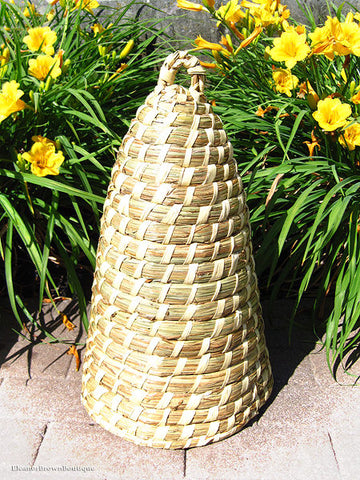 20 Inch Natural Straw Bee Skep For Your Indoor & Outdoor Decor